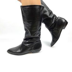 1980's Brazilian black soft leather boots